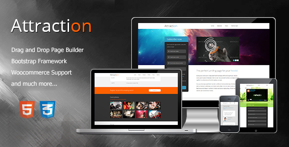 Attraction Responsive WordPress Landing Page Theme (Technology)